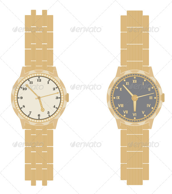 GraphicRiver Gold Watch and Bracelet on a White Background 5047222