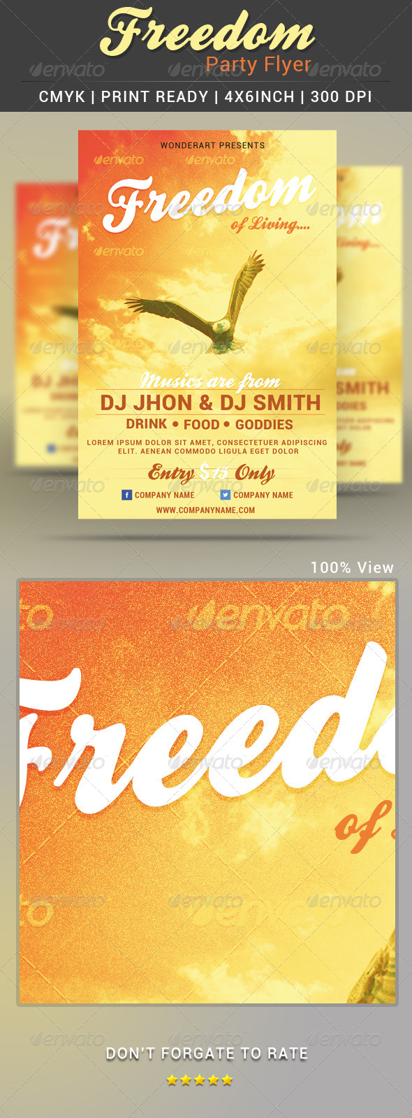GraphicRiver Freedom Music Party Event Flyer Poster Template 5048372