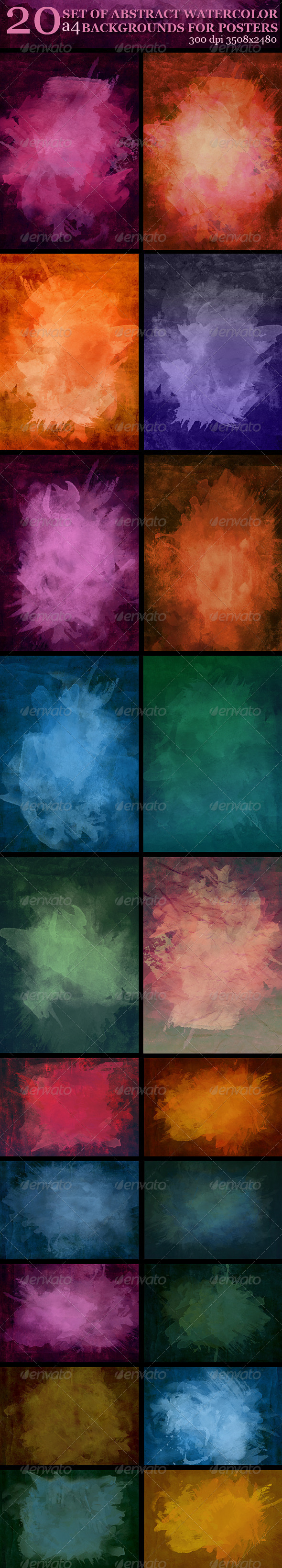GraphicRiver Set of Abstract Watercolor Background for Posters 5028111