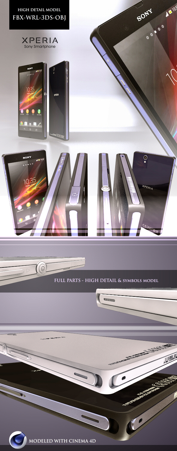 3DOcean Sony Xperia Z High Detail Model FBX-WRL-3DS-OBJ 5049706