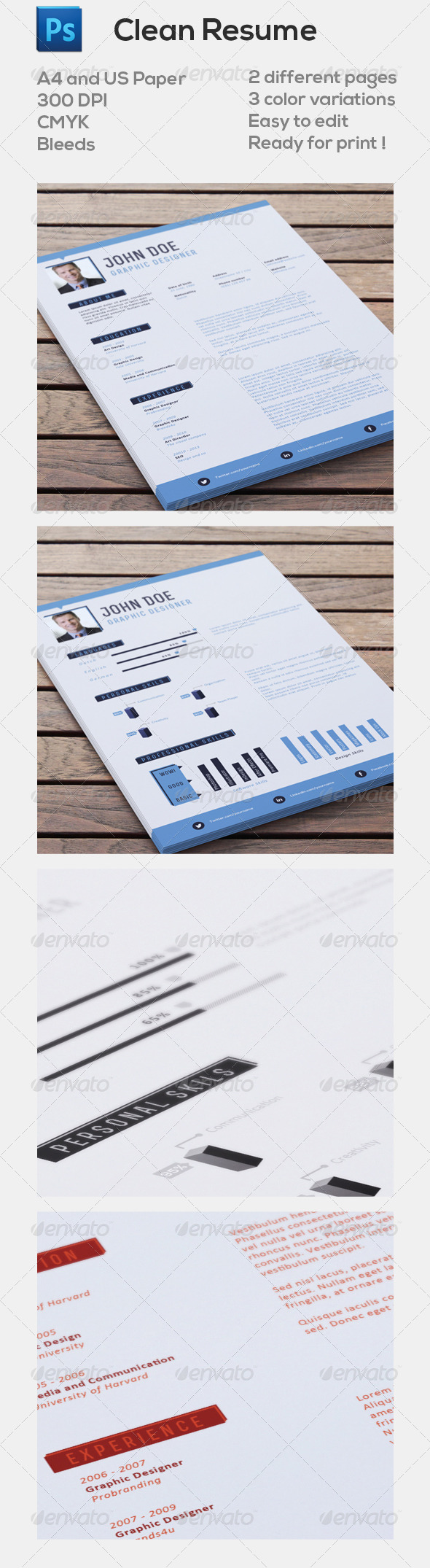 GraphicRiver Clean Resume 5051429