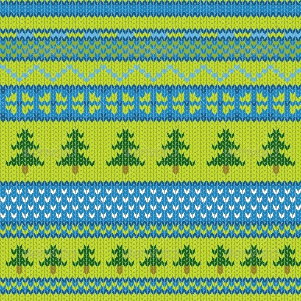 GraphicRiver Seamless Knitted Pattern with Pine 5051708