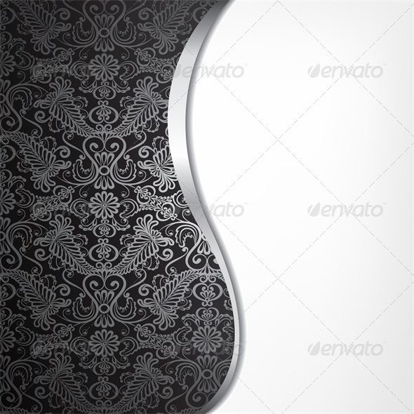 Black and Silver Floral Pattern