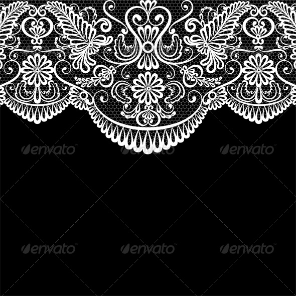 Invitation or Greeting Card with Lace Border