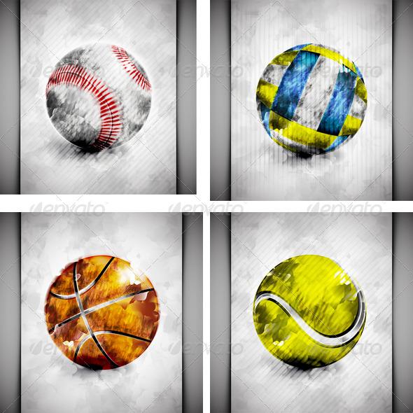 GraphicRiver Sports Ball Watercolor 5052110