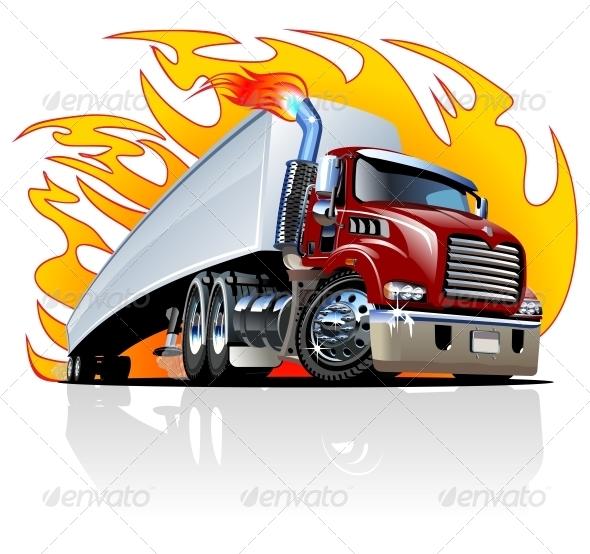 GraphicRiver Cartoon Semi Truck One Click Repaint 5052113