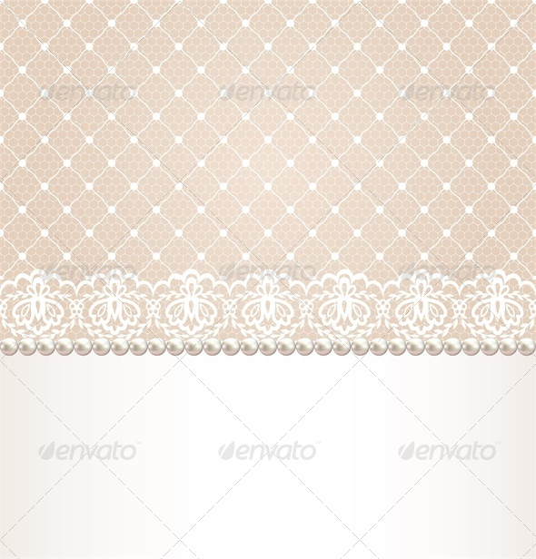 GraphicRiver Wedding Invitation or Greeting Card with Lace 5052194