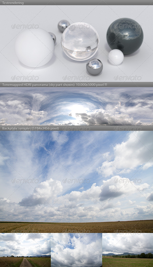 HDRI spherical sky panorama -1012 - cloudy sky - 3DOcean Item for Sale