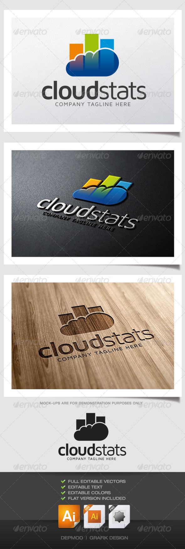 GraphicRiver Cloud Stats Logo 5052454