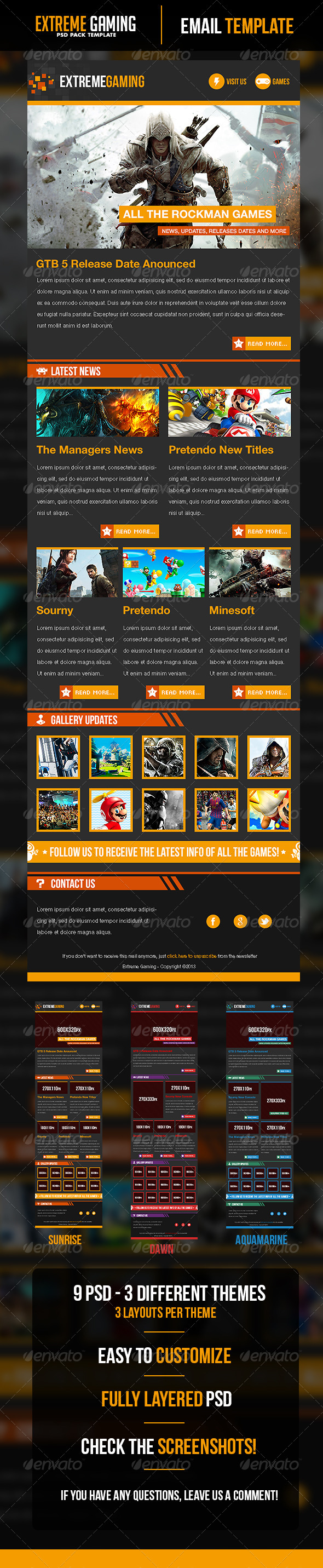 Extreme Gaming PSD Email Template - E-newsletters Web Elements