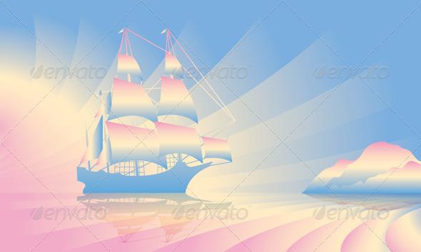 GraphicRiver Sailing Ship on Skyline 5052612