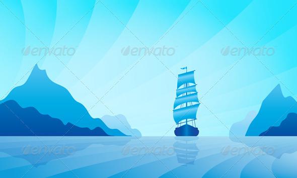 GraphicRiver Sailing Ship on Skyline 5052616