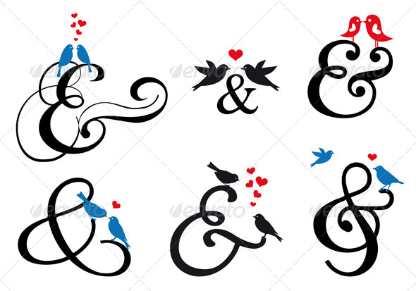 GraphicRiver Ampersand Sign with Birds Set 5053184