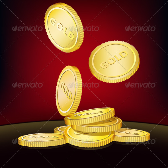 GraphicRiver Falling Gold Coins 5053763