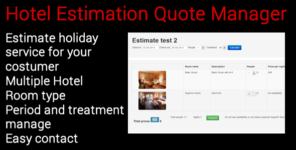 CodeCanyon Hotel Estimation Quote Manager 5053821