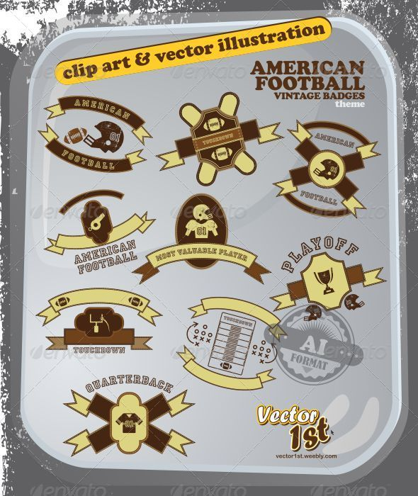 GraphicRiver American Football Vintage Icon Set 5043234