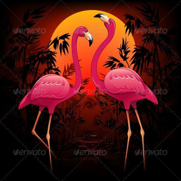 GraphicRiver Pink Flamingos on Tropical Sunset 5054559