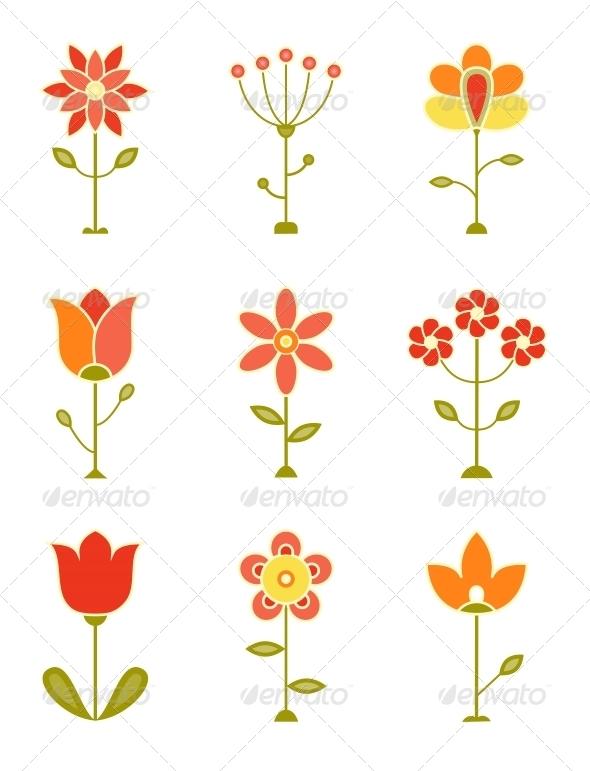 GraphicRiver Retro Flower Set 5054666