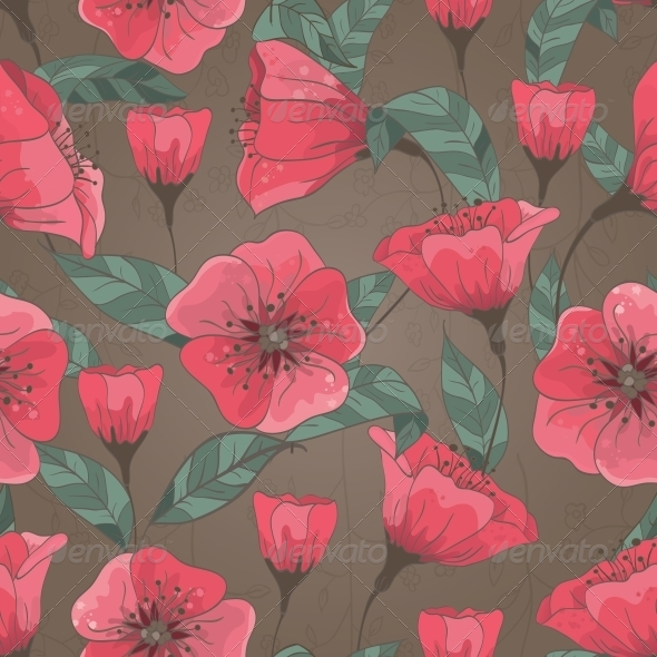 Seamless Pattern with Hand Drawn Flowers