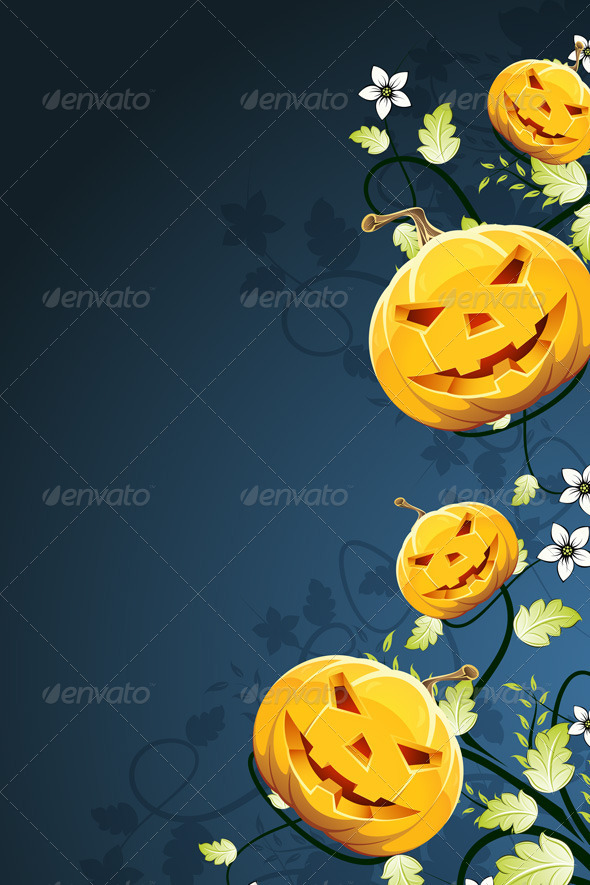 GraphicRiver Abstract Halloween Background with Flowers 5054920