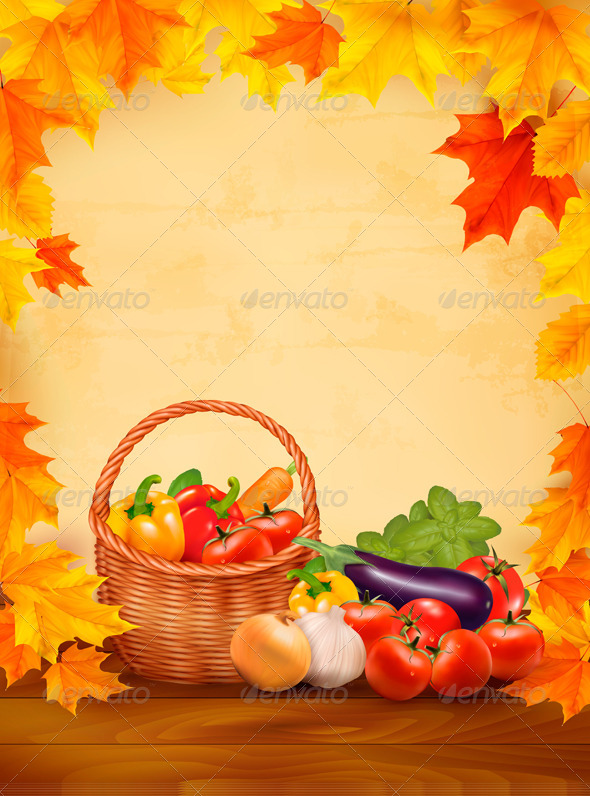 GraphicRiver Autumn Background with Fresh Vegetables 5054996
