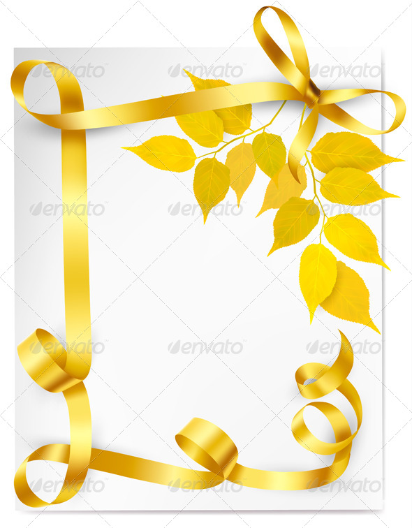 GraphicRiver Autumn Background with Yellow Leaves and Ribbons 5054999