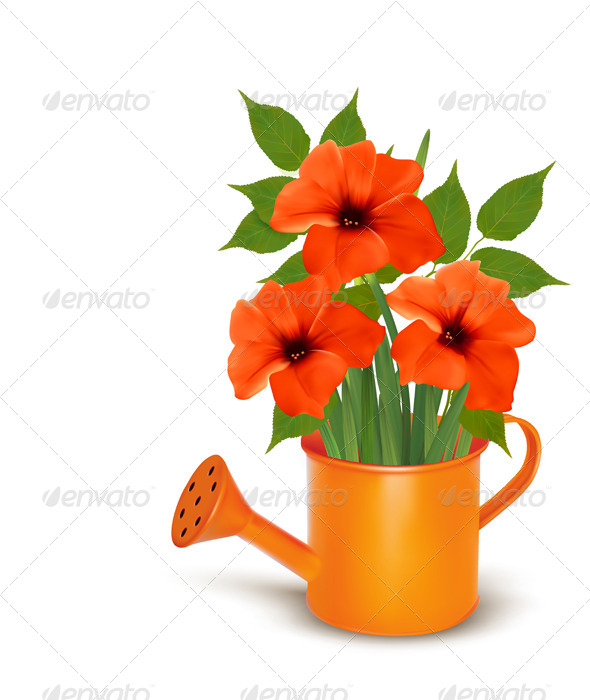 GraphicRiver Fresh Summer Flowers Growing in a Watering Can 5055306