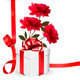 Holiday Background with Three Roses and Gift Box - GraphicRiver Item for Sale