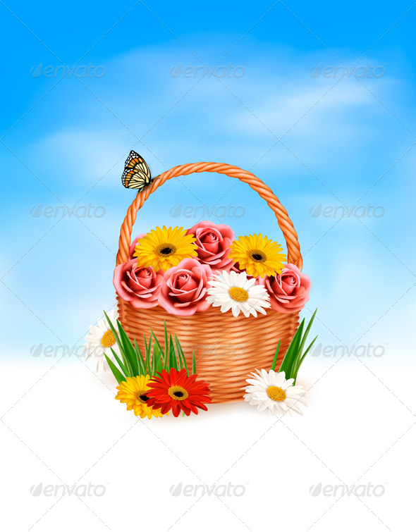 GraphicRiver Holiday Basket Full of Flowers Background 5055489