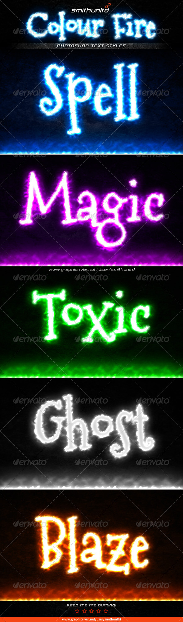 GraphicRiver Colour Fire Text Styles 5055709