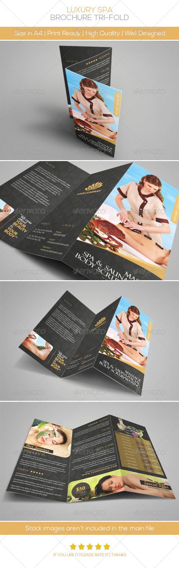 Luxury Spa Brochure Tri-fold - Brochures Print Templates