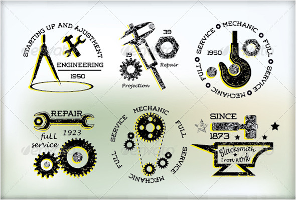 GraphicRiver Industrial Badges Set 5044255
