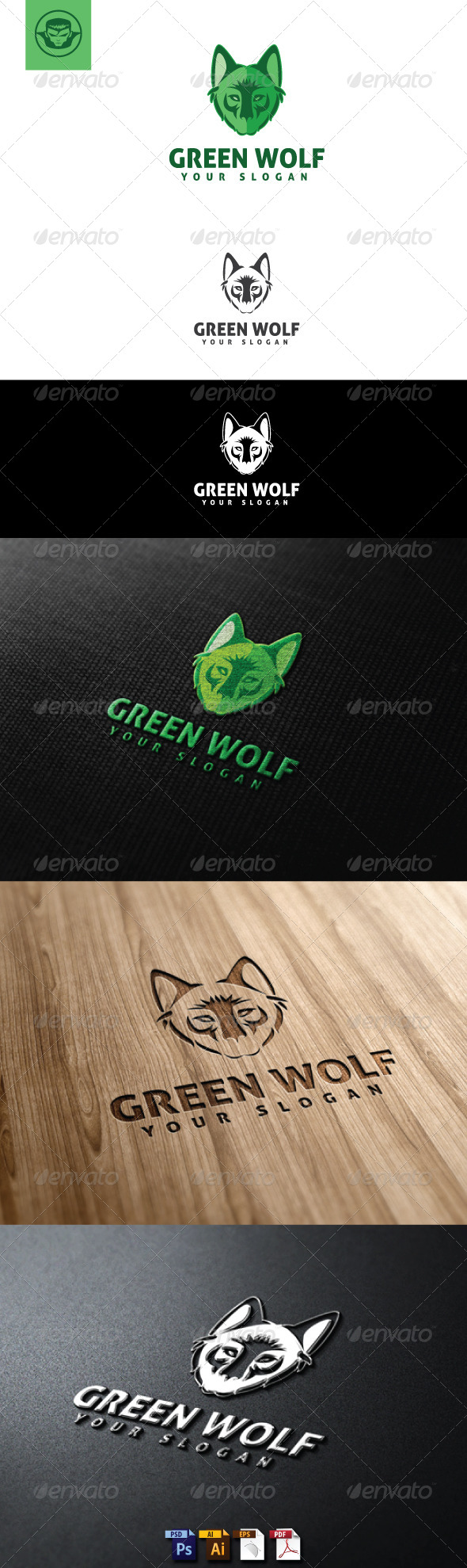 GraphicRiver Green Wolf Logo Template 5056894