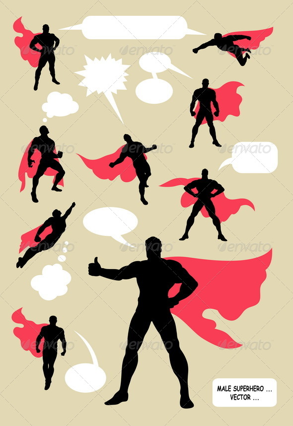 GraphicRiver Male Superhero Silhouettes 5057118