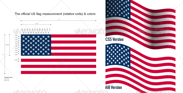 US Flag with Official measurements