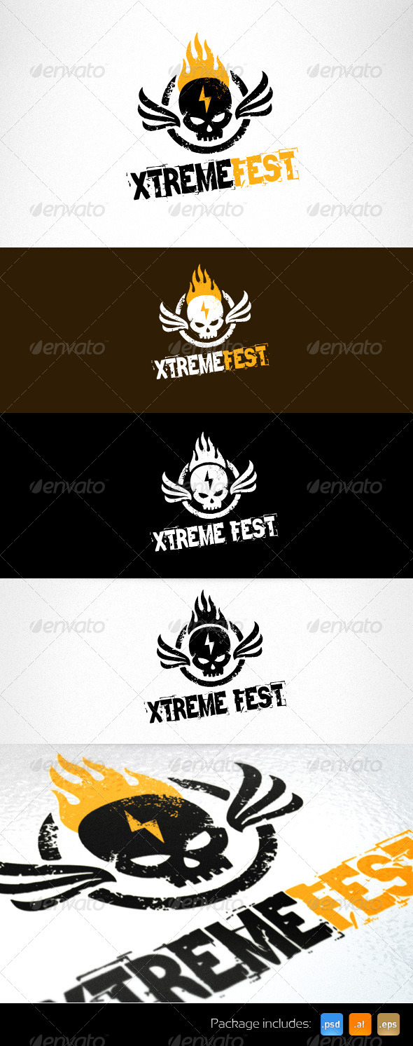 Burning Skull Extreme Event Grunge Logo  - Humans Logo Templates