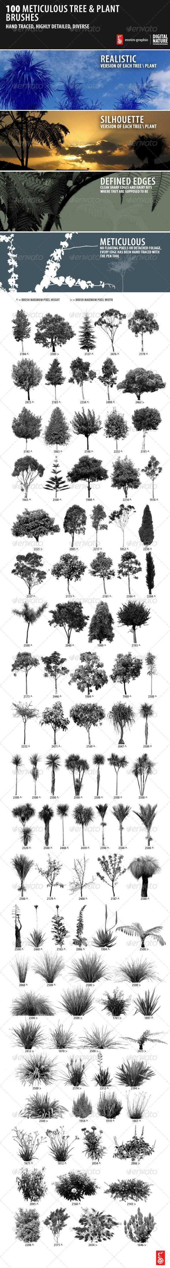 GraphicRiver 100 Meticulous Tree and Plant Brushes 5058734