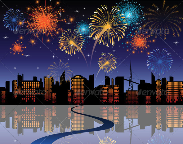 GraphicRiver Fireworks in a City 5058938