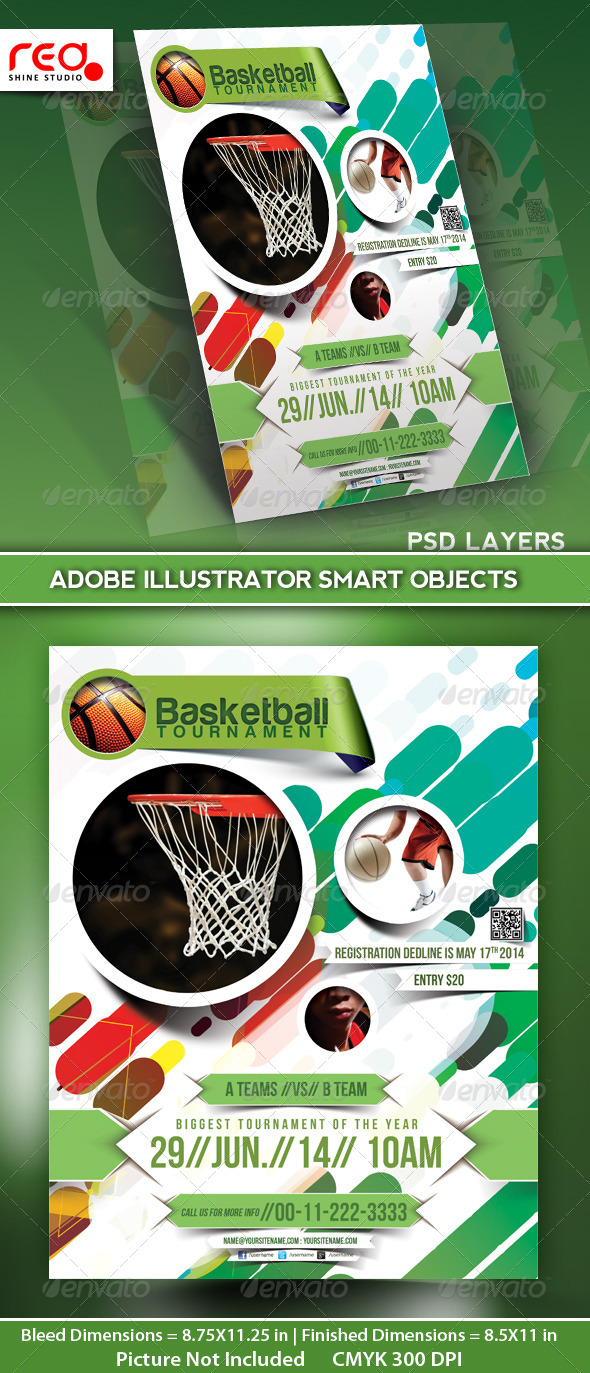 GraphicRiver Basketball Tournament Flyer Poster Magazine Template 5059104