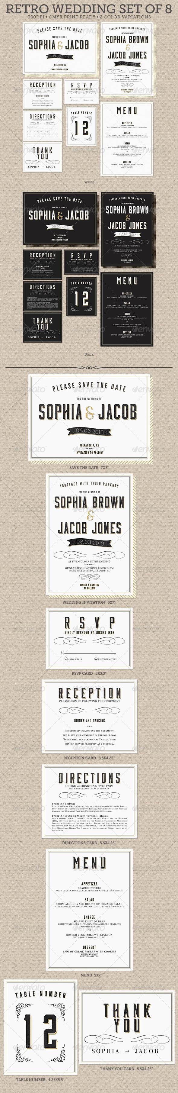 GraphicRiver Retro Wedding Set of 8 5059114