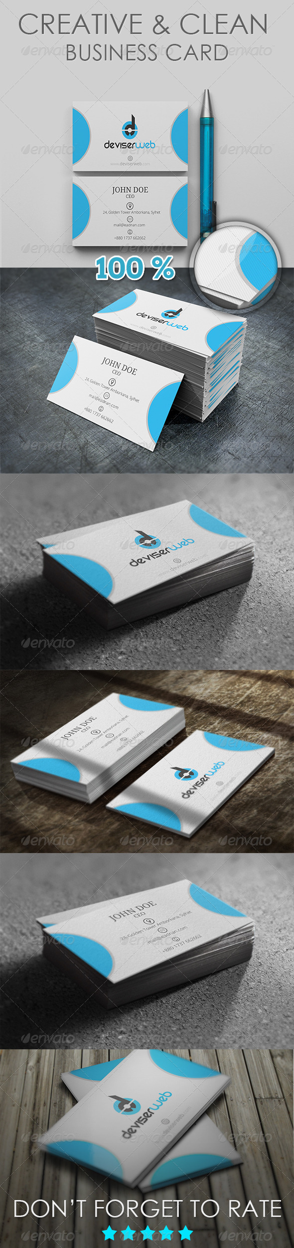 Creative & Clean Business Card - Creative Business Cards