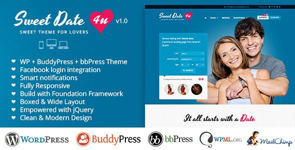 ThemeForest Sweet Date Premium Wordpress Theme for Lovers 4994573