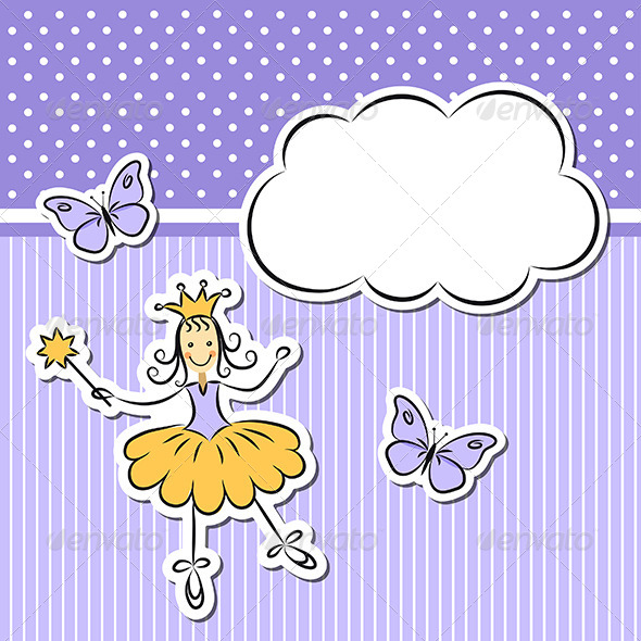 GraphicRiver Little Girl With Paper Cloud And Butterflies 5059672