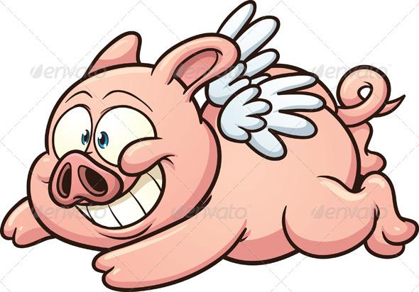 GraphicRiver Cartoon Flying Pig 5059689