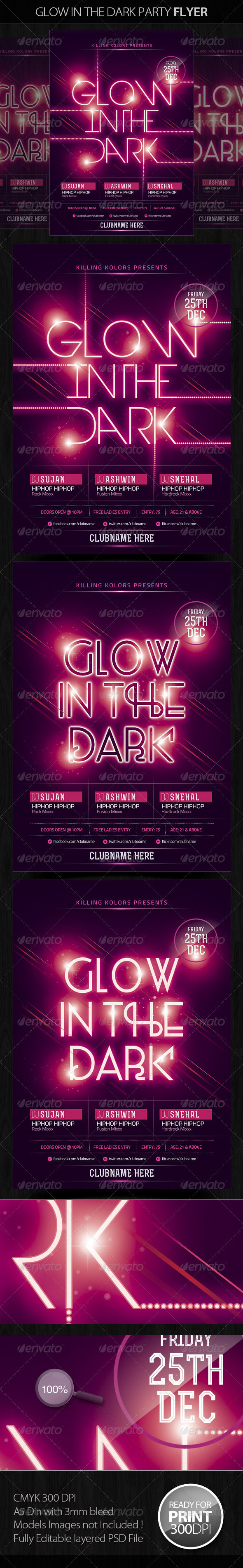 GraphicRiver Glow in the Dark Party Flyer 5060233