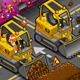 Isometric Mini Excavator in Front View - GraphicRiver Item for Sale