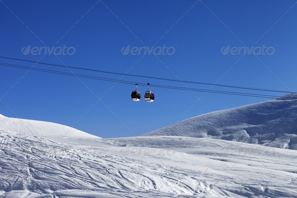 Gondola lift at ski resort - Stock Photo - Images