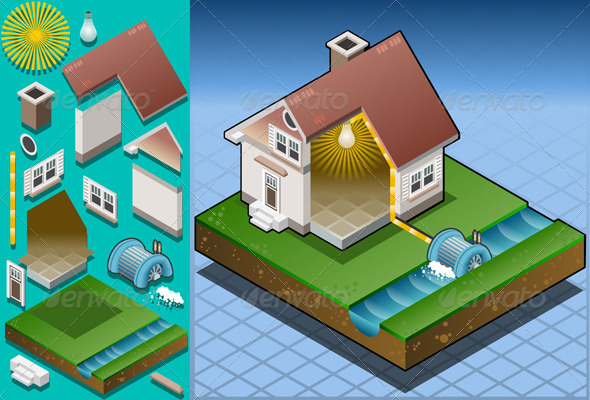 GraphicRiver Isometric House Powered by Hydropower Watermill 5060418