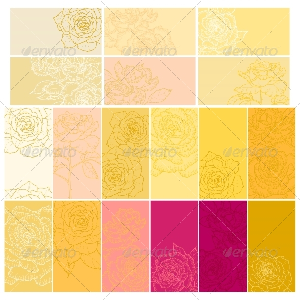 GraphicRiver Collection of Floral Backgrounds with Roses 5060859