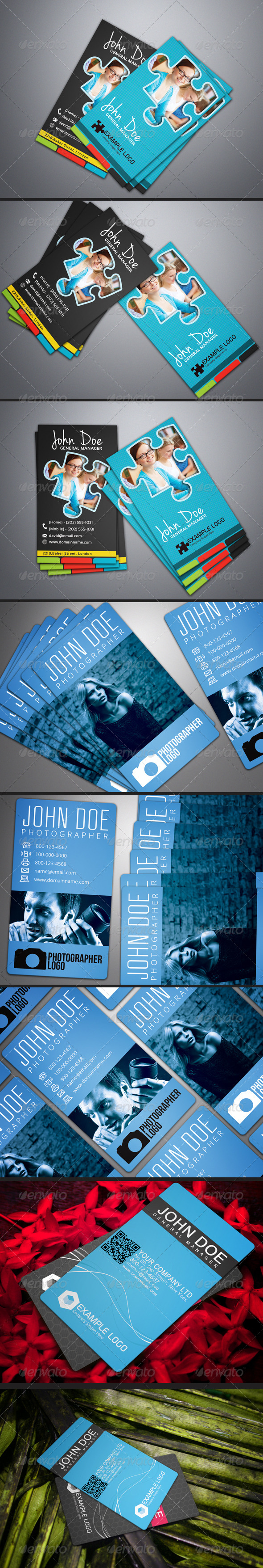 Photorealistic Business Card Mock-Up Bundle 2 - Business Cards Print